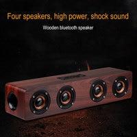 Four horn HIFI Wooden Bluetooth wireless speaker portable Subwoofer bass Wireless receiver FM Handsfree call speaker for music