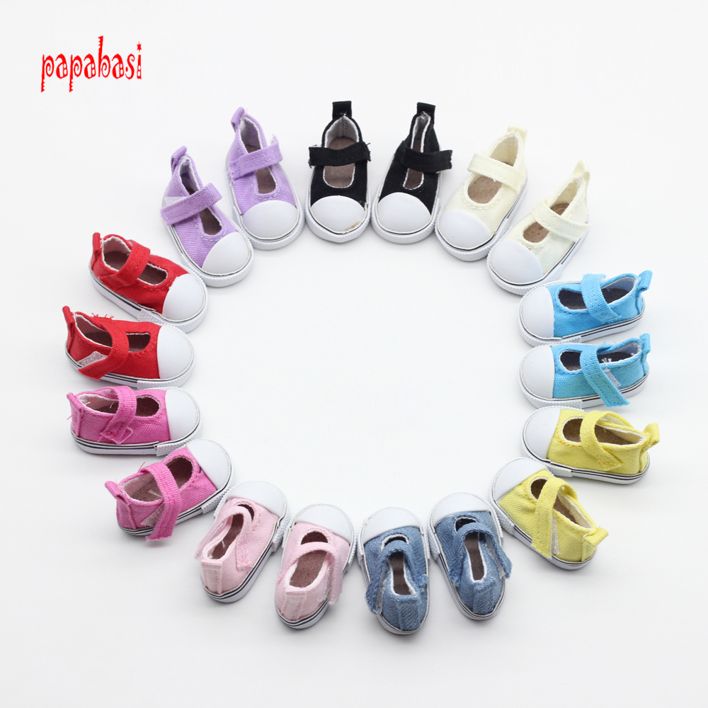 Papabasi 5pair/lot Assorted 5cm Canvas Shoes For 1/6 BJD Doll Fashion Mini Toy Shoes Bjd Shoes for Russian  Doll shoes beioufeng 3 8cm fashion doll shoes for blythe doll toy mini gym shoes sneakers for dolls bjd doll footwear sports shoes 6 pair