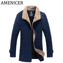 Winter 2017 New Tide Mens Wool And Blends Single-Breasted Woolen Cloth Coat Stand Collar Pea Coat Abrigo Lana Hombre