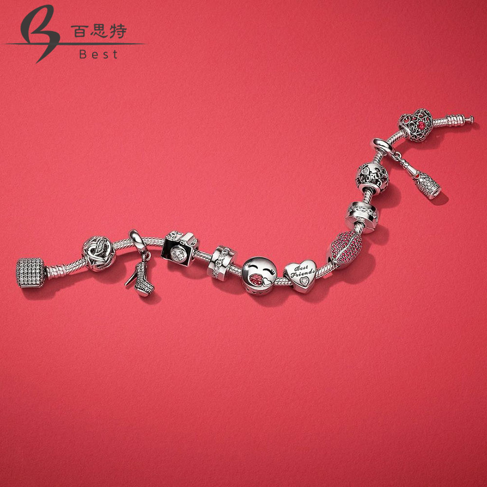 BEST 100% 925 Sterling Silver KISS MORE CHARM Heart-shaped Bead CHAMPAGNE Heels HANGING CHARM Valentines Day Gift Bracelet SetBEST 100% 925 Sterling Silver KISS MORE CHARM Heart-shaped Bead CHAMPAGNE Heels HANGING CHARM Valentines Day Gift Bracelet Set
