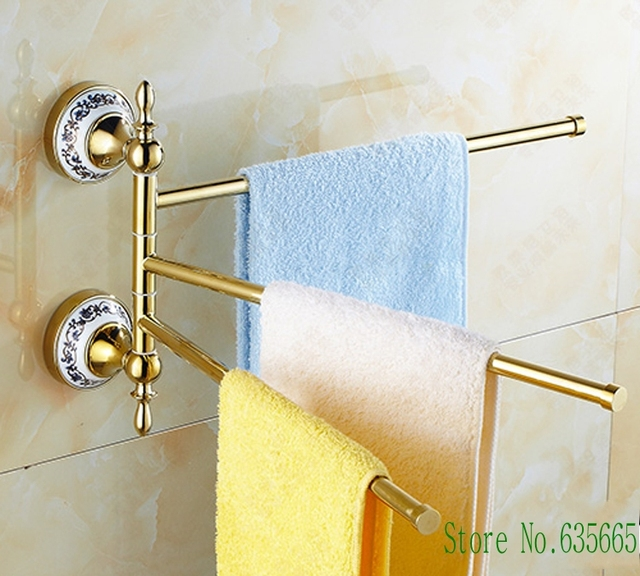 Antique Luxury Gold Brass Rod Vintage Swivel Towel Rack Rod Hanging ...
