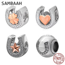 Sambaah 925 Sterling Silver Heart Lucky Star Shamrock Horseshoe Shape Charm Beads with CZ Stone fit Pandora Style Love Bracelet