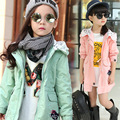 2016 Spring Girls Trench medium-long with a hood wadded jacket 100% cotton thickening outerwear