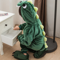 Children Cosplay Costume Green Dinosaur Onesie Pajamas Animal Dragon Flannel Hooded Pyjama For Boys Girls Winter