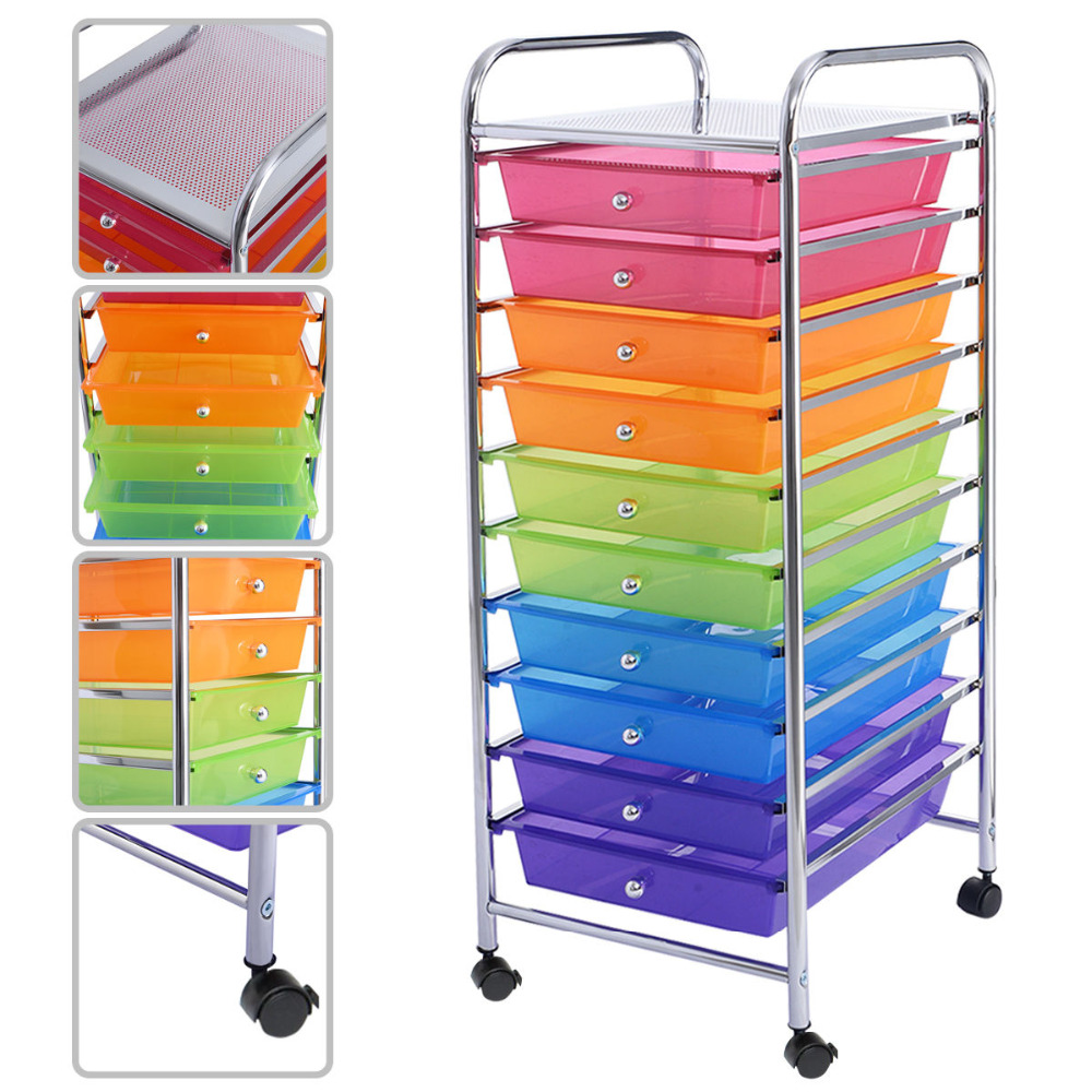 Goplus 10 Drawer Rolling Storage Cart Scrapbook Paper Office School Organizer Rainbow Portable Kitchen Storage Drawers HW52045