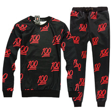 2016 Free Shipping Men Print O-neck Long Sleeve+Pants Sport Mens Tracksuits set Plus Size Breatheable Running Suits
