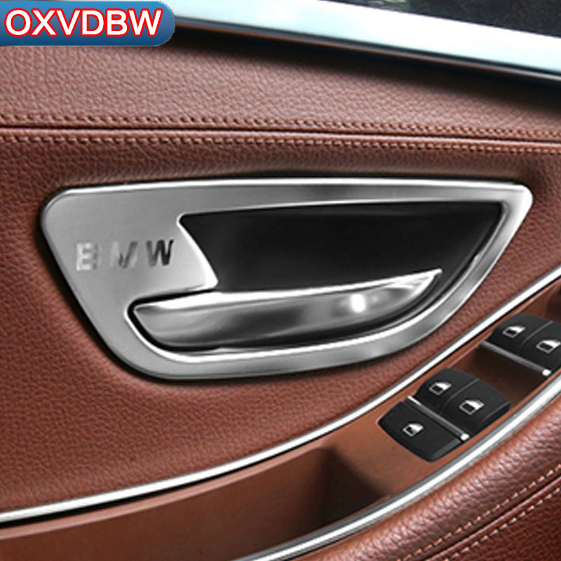 4 PCS Car Interior Door Handle Cover Trim Door Bowl Stickers decoration for BMW F10 5 Series 2011-2017 accessories chrome 3pcs interior head light lamp switch button cover trim for bmw 5 series f10 2011 2012 2013 2014 car styling