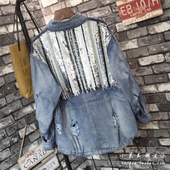 Femelle Stand À Nouveau Manteau Outwear Lâche Bleu Longues De Col Automne Printemps Bling Jeans Veste Femmes 2018 Rétro Manches Paillettes Denim U7qvdgHxw1