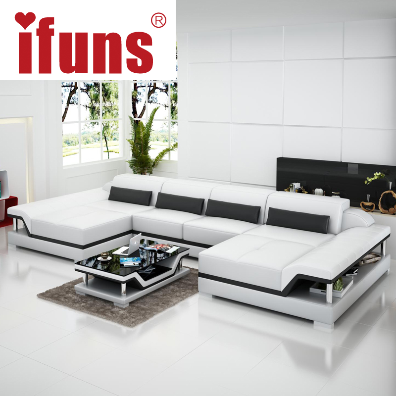 Aliexpress.com : Buy IFUNS U Shaped Black Couch Cheap Modern Design Sectional  Sofa Corner Quality Leather Luxury Sofa Sets For Living Room Furniture From  ...