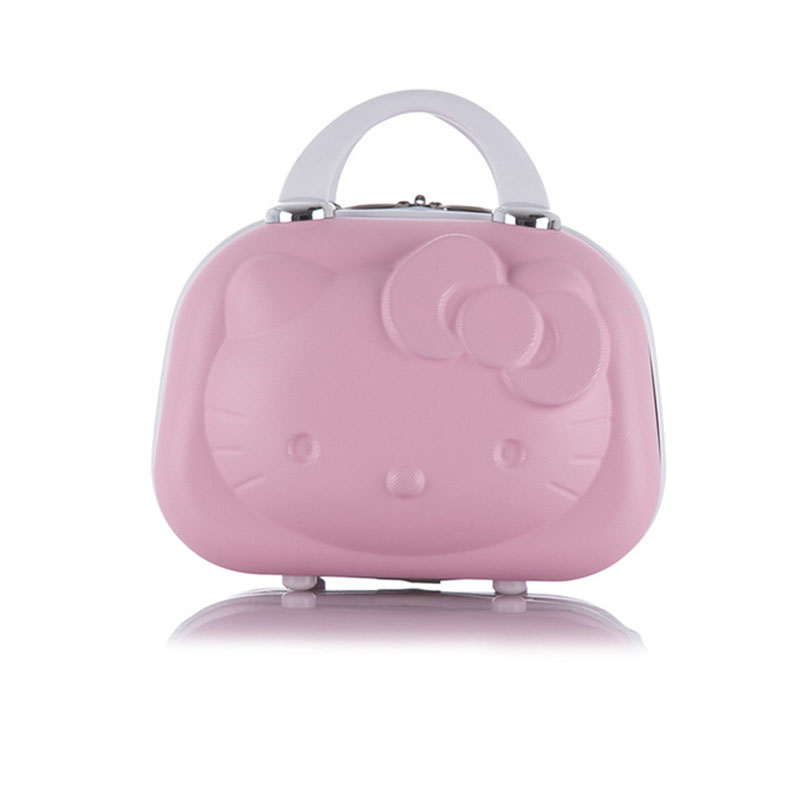 Hot Fashion ABS Waterproof Suitcase Cosmetic Case Hello Kitty Design Travel Suitcase Can Be Set Trolley Case Make Up Box Vs