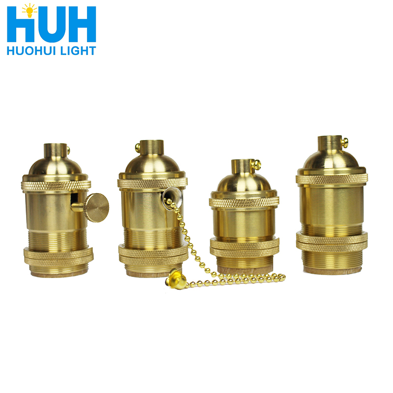 Vintage Copper Lamp Holder With Switch Gold Holder 4 Specifications AC 90-260V E27 LED For Chandelier Lamp Wire Lighting