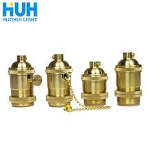 Soporte de Lámpara de cobre Vintage con interruptor dorado 4 especificaciones AC 90-260V E27 LED para lámpara de araña iluminación de alambre