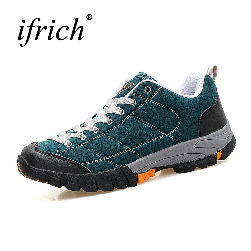Ifrich Men Large Size Outdoor Shoes Trekking Shoes Climbers Spring/Autumn Mountain Walking Sneakers Leather Hunting Boots Brand ifrich hiking shoes men outdoor climbing trekking sneakers spring autumn mountain walking shoes leather blue gray hunting boots