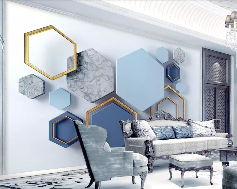 Купить с кэшбэком beibehang Wallpaper 3d modern minimalist geometric marble mosaic TV background wall living room bedroom decoration 3d wallpaper