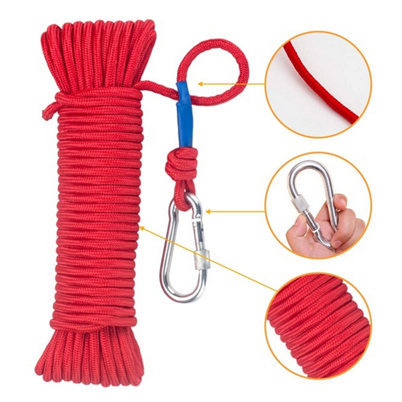 20m Safe Hiking Nylon Rope High Strength Braid Rope With Carabiner Safety Lock Outdoor Mountain Climbing Equipment