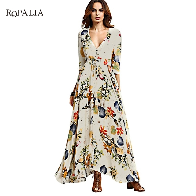 2017 Summer  Floral Print Dress Retro Rockabilly Vintage Split Flowy Party National Bohemian Maxi dresses