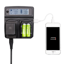 Lvsun telefone universal + aa + camera carregador para canon sony nikon vw-vbg6 vw vbg6 panasonic mdh1 hs300 tm300 hs250 sd100 hs100 tm20