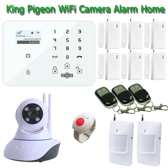 Wireless wifi Camera Alarm IP Home Amart System Android /IOS APP With Burglar Alarm GSM K9 SOS Panic Button Remote Control W11E alarm gsm system wireless gsm alarm system security home android app touch panel french german sos button remote control k9y