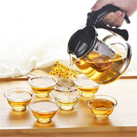 Temperature resistance teapot diameter 80mm with tea strainer filter net cups kungfu tea set drinkware 1set