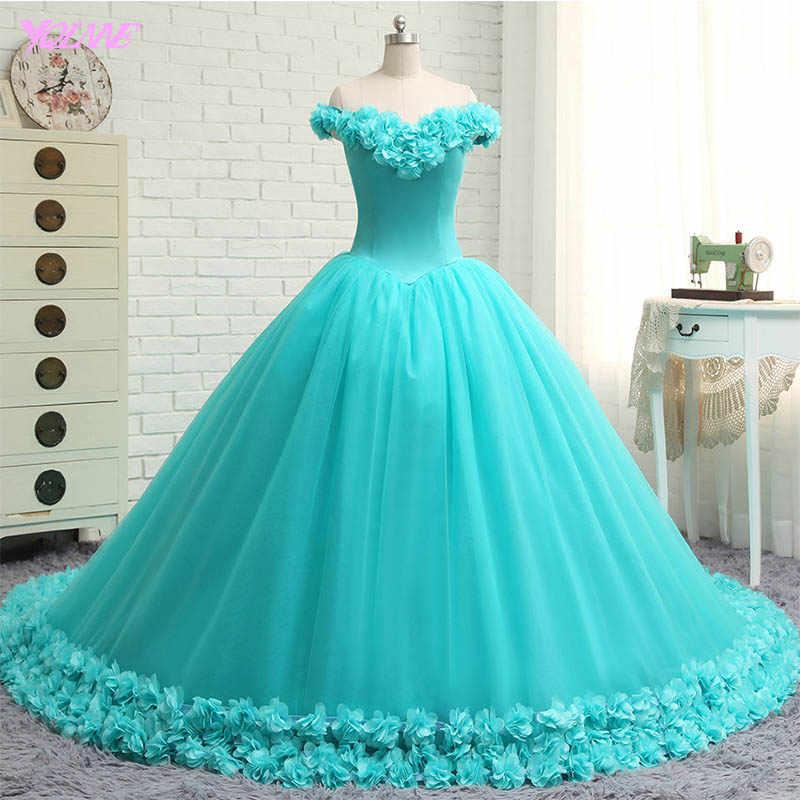 536e58e822a YQLNNE Vestido De Debutante Vestidos De fiesta Vestido De quinceañera  Vestidos De hombro 3D flores dulces