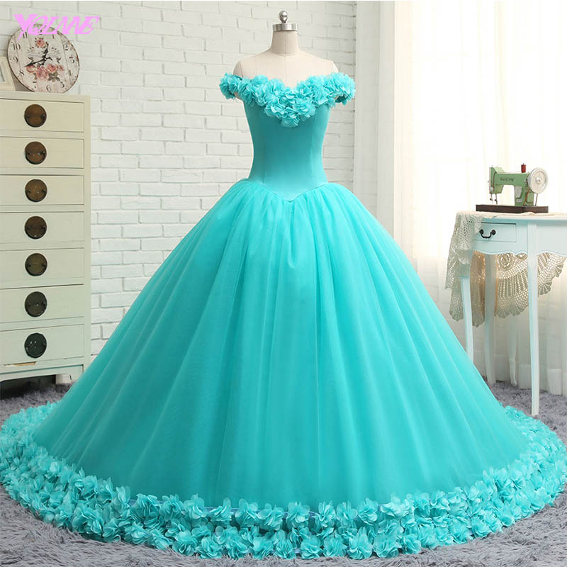 YQLNNE Vestido Debutante Gowns Ball Gown Quinceanera Dresses Off the Shoulder 3D Flowers Sweet