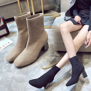 Image 3 - 2019 새로운 니트 여성 양말 부츠 여성 발목 부츠 하이힐 양말 신발 여성 운동화 탄성 신발