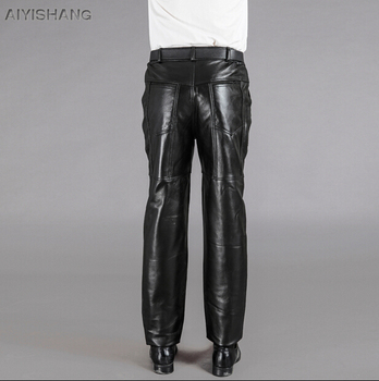 Men Genuine Leather Pants Motorcycle Pants New Men Winter Casual First Layer Of Cowhide Plus Cotton Thickening Trousers M-3xl