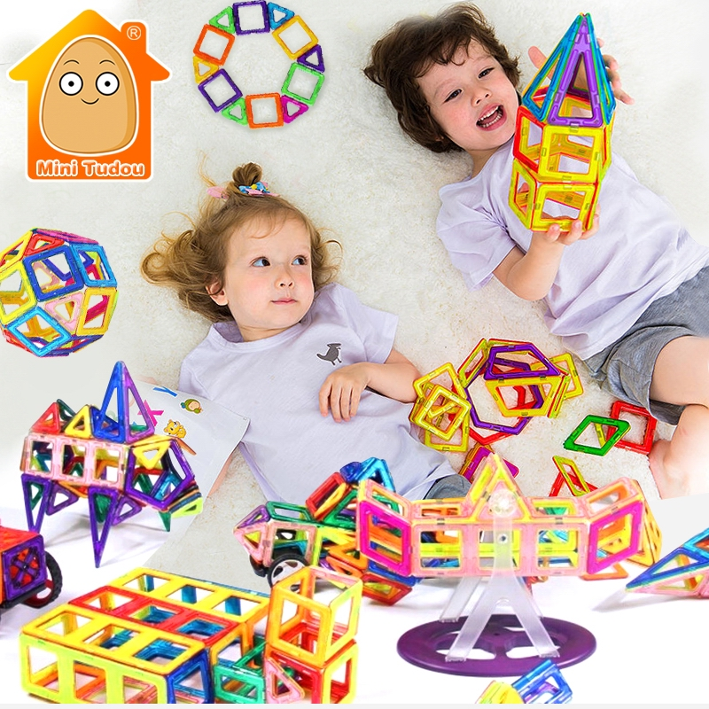Bluk Magnetic Blocks Constructor Parts DIY Educational Game For Children Kids Toys Multicolor Buidling Bricks