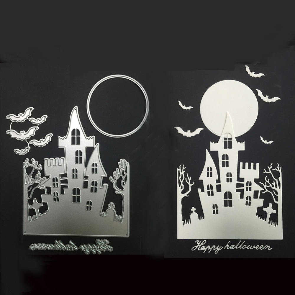 """haunted house metal cutting die """"happy halloween"""" metal cut die bats"""