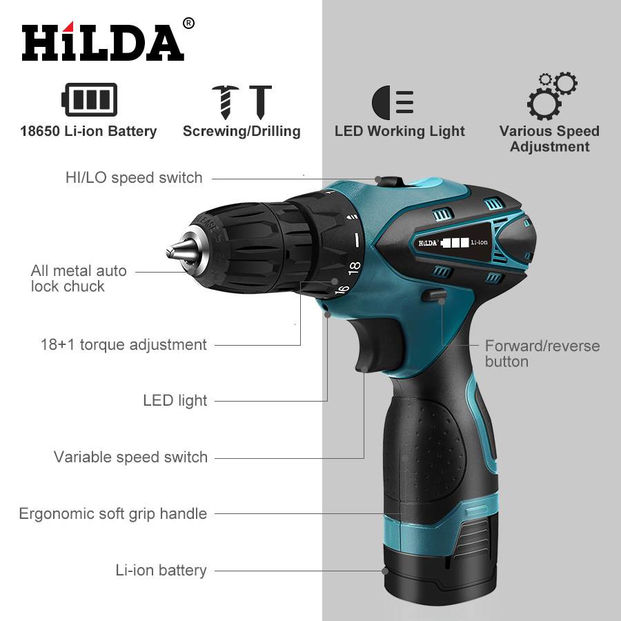 Image 3 - HILDA Electric Drill Cordless Screwdriver Lithium Battery  Mini Drill Cordless Screwdriver Power Tools Cordless Drill-in Electric Drills from Tools