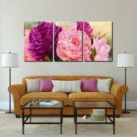 5 Panel Pictures Canvas Painting Peony Flower Painting Wall Art Decorative Canvas Wall Art Modular Picture