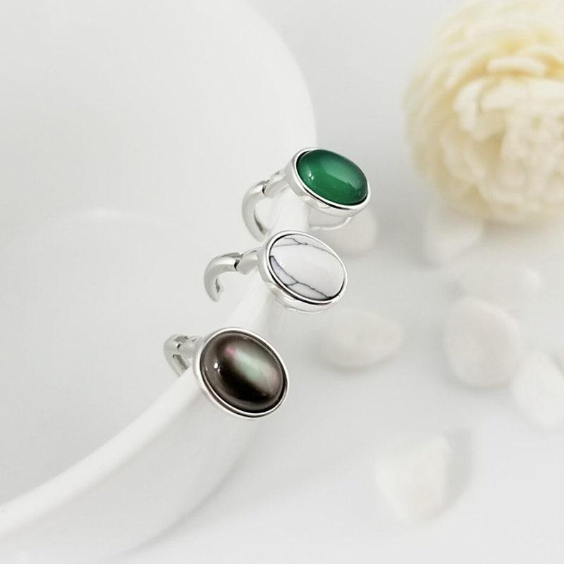 Элегантная овальная естественный зеленый оникс черный перламутр клип серьги Для женщин 100% стерлингового серебра 925 Серьги просто краткое С...
