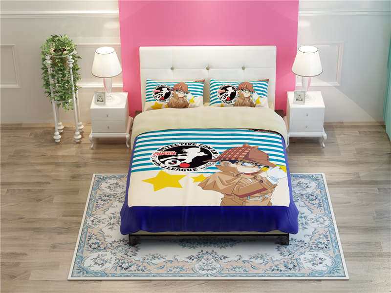 Japanese Anime Detective Conan Boys Teen Blue Quilted Cover Bed Comforter Striped Bedding Duvet Linen Set Queen King Living Room