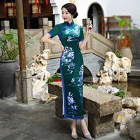High Quality Velour Chinese Vintage Handmade Button Chinese Female Qipao Summer Short Sleeve Novelty Long Dress