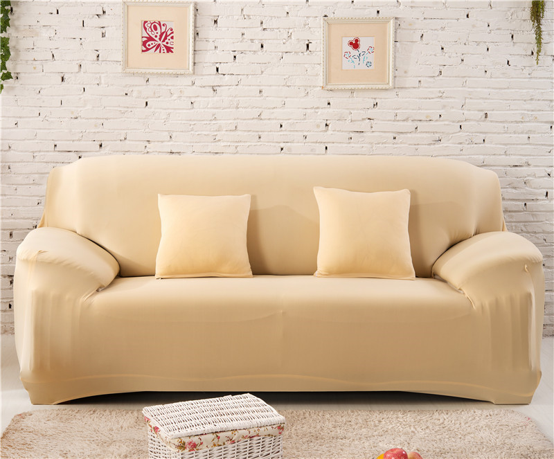 Solid Color Elastic Couch Cover made of Stretchable Material for Singe to 4 Seated Sofa in Living Room 26