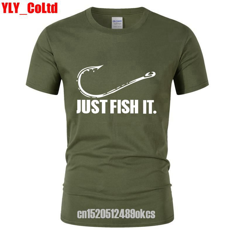 2019 Love Fishing TShirt Fashion Men Just Fish It Funny Fishing Angler Hook Bait&Tackle Preshrunk   T  -  Shirt   Brand Cotton   T     shirt