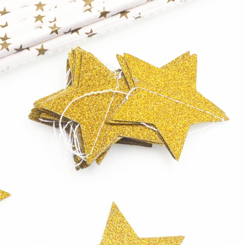 Paper Star Garlands Bunting Banners Hanging String Wedding Birthday Party Baby Shower Background Decoration Gold Pink Kids Girls