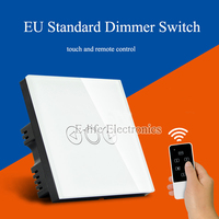 EU Standard 1 Gang Touch Light Dimmer Switch Black Crystal Touch Glass Panel Electrical Wall Switches