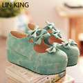LIN KING Spring Summer Women's Lolita Princess Bowtie Trifle Heel Dress Shoes Pumps Fashion Sweet Round Toe Buckle Lady Pumps
