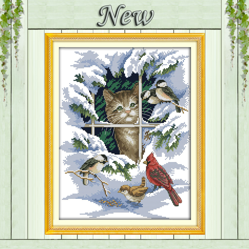 14CT 11CT DMC feitas à mão kits de ponto cruz, neve cenário inverno Cat e aves Needlework bordado Cross Stitch define Home Decor