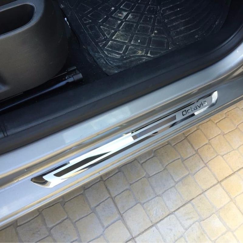 Skoda Octavia A5 A7 2007-2011 2012 2013 2014 2015 2016 Car accessories Car-styling Stainless steel Door Sill scuff Plate - AOSRRUN NEX Store store