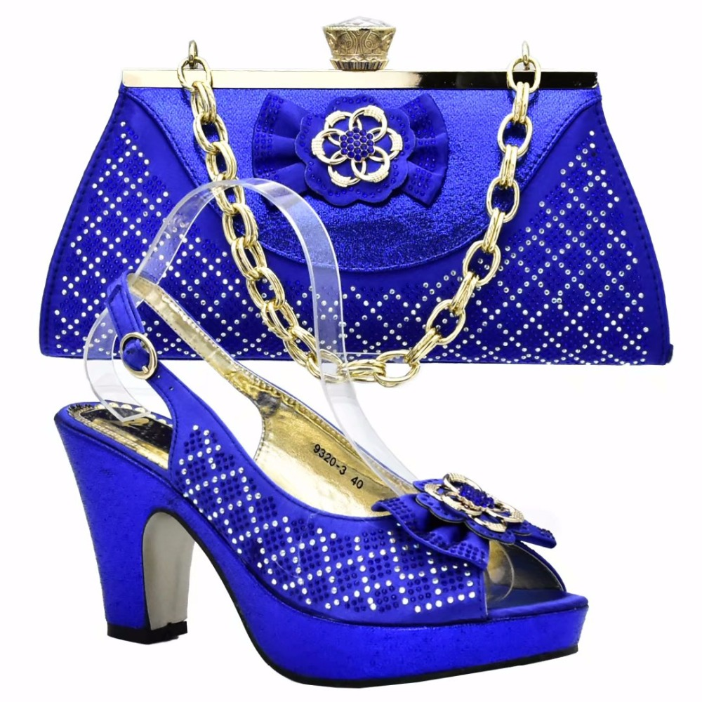 New African Royal blue Shoe And Bag Set High Heel Italian Shoe With Matching Bag Best Selling Ladies Matching Shoe And Bag new and original mc100ep210smng qfn 32 5x5 mc100ep210s selling with high quality page 5