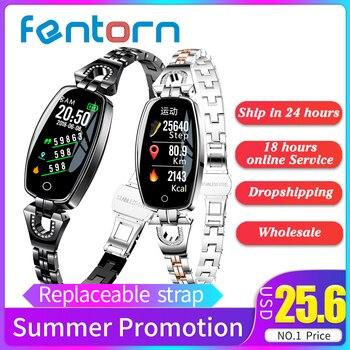 Fentorn New Fashion Bluetooth Fitness Bracelet H8 Smart Bracelet Women Heart Rate Blood Pressure IP67 Waterproof Smart Wristband