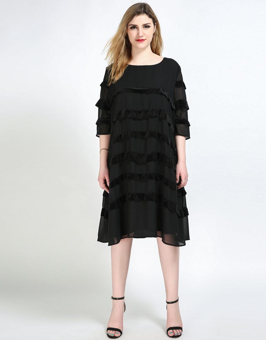 Womens sexy quarters sleeve black plus size velvet dress loose womens sexy quarters sleeve black plus size velvet dress loose office lady a line cocktail party chiffon dress with linning in dresses from womens ombrellifo Choice Image