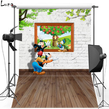 Cartoon Vinyl Photography Background Backdrop For Kids Wood Floor Photo New Fabric Flannel Background For Photo Studio 2435