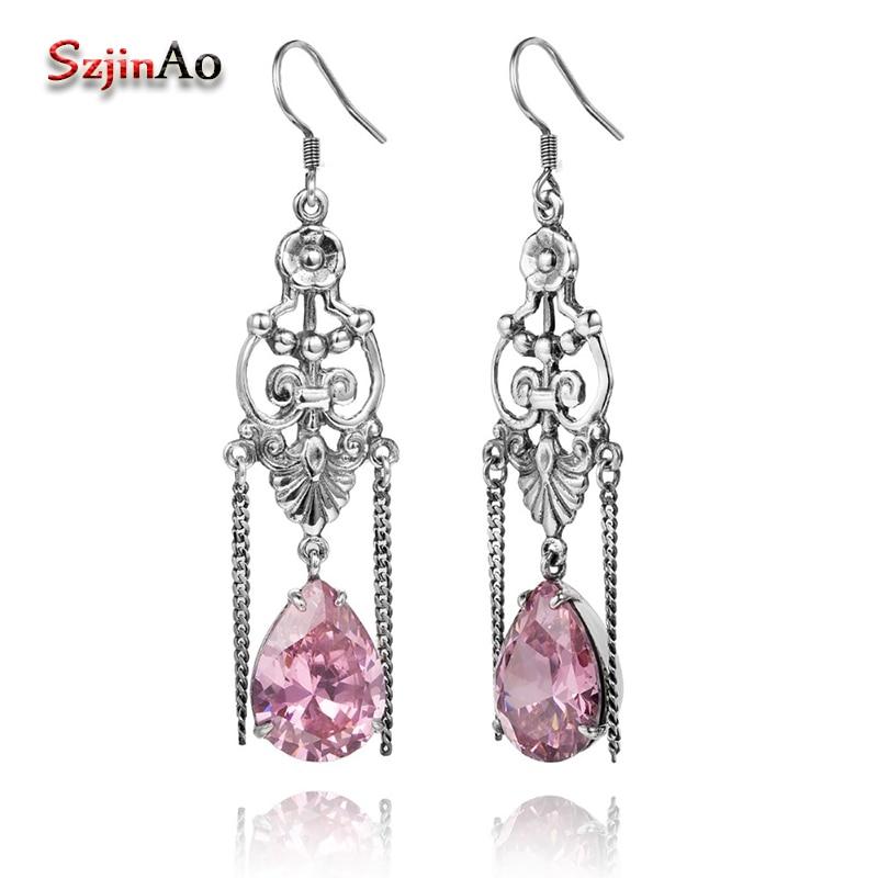 Szjinao hibou étincelant mode boucles doreilles en argent massif-925-bijoux rose mariage cristal boucles doreilles pour les femmes à la main brinco grande