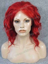 Top Quality Short Curly Syntheitc Lace Front Wig Red Wig Drag Queen Wig Bright Red Wig