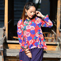 Chinese New Spring Cardigan Ms. Retro Shirt Collar Plate Buttons Long-sleeved Shirt Printing Lotus Leaf Hem