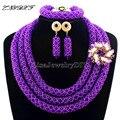 Moda de Boda Nigeriano Beads Africanos Joyería Establece Cristalino de La Joyería Collar de la Mujer Joyería Set Joyería Conjuntos L1009
