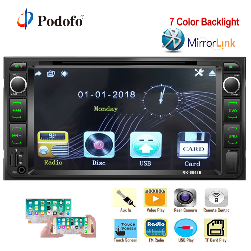 Podofo 2 din Car Radio Stereo Auto radio 2din FM Receiver Bluetooth DVD/CD/MP3/USB/SD/AUX Audio Player Support Rear View Camera